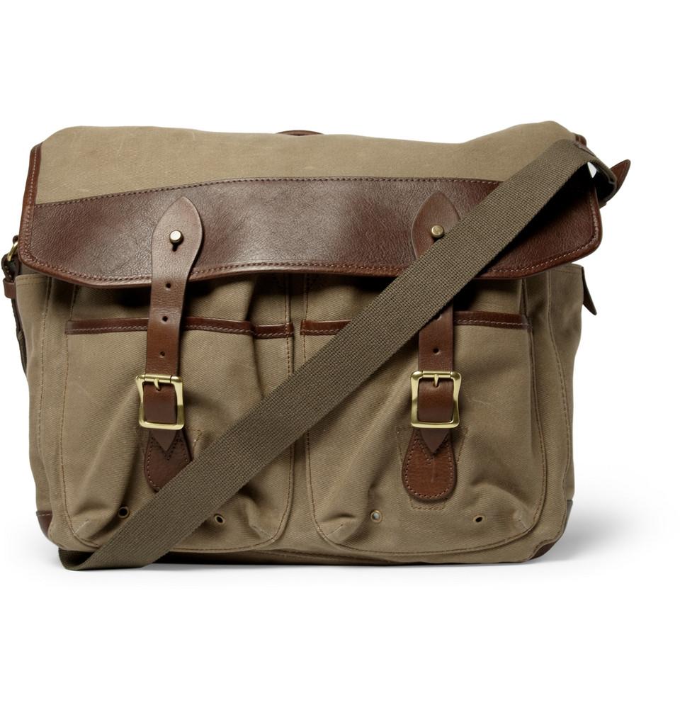 713e861b25 Waxed canvas messenger bag